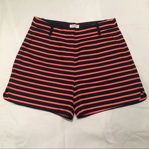 NWOT J. Crew high waisted striped shorts